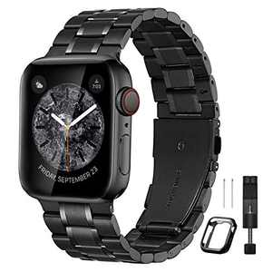 Bestig Compatible for Apple Watch Band 38mm 40mm 42mm 44mm Premium Solid Stainless Steel Metal Replacement Adjustable Sport Wristband Bracelet Strap for iWatch Series 6 SE 5 4 3 2 1 (Matt Black/Polished Black)