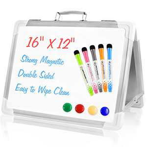 Small Dry Erase White Board, Magnetic Portable Desktop Foldable Whiteboard Mini Easel Double Sided with Markers and Magnets for Kids Drawing, Teacher Instruction, Memo Board