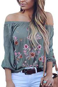 CONMEN Women Off Shoulder Chiffon Loose Shirts Bohemian Floral Printed Embroidered Strapless Tunic Blouses Shirts Gray