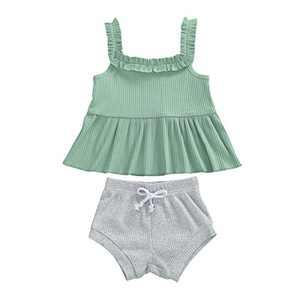 Toddler Baby Girls Knitted Shorts Set Solid Color Halter Ruffle Top Drawstring Shorts Pants 2Pcs Summer Clothes (K-Green+Gray, 12-18M)