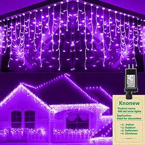 KNONEW Fairy Icicle Lights, 400 LED, 32ft 8 Modes Curtain Fairy Light with 75 Drops, Clear Wire String Light Decor for Christmas Thanksgiving Wedding Party Indoor Outdoor Decorations (Crystal Purple)