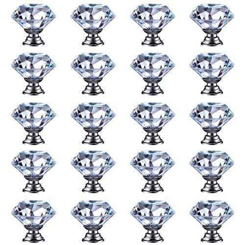 20pcs Glass Cabinet Knobs 30mm Crystal Drawer Pull Handle Clear Diamond Shape for Kitchen, Bathroom Cabinet, Dresser and Cupboard Wardrobe 20pcs