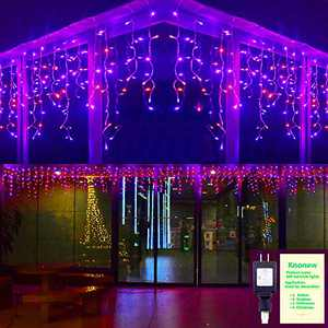 KNONEW Fairy Icicle Lights, 400 LED, 32ft 8 Modes Curtain Fairy Light with 75 Drops, Clear Wire String Light Decor for Christmas Thanksgiving Wedding Party Indoor Outdoor Decorations
