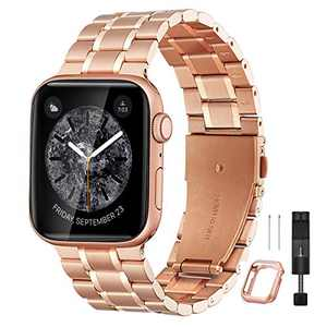 Bestig Compatible for Apple Watch Band 42mm 44mm Premium Solid Stainless Steel Metal Replacement Adjustable Sport Wristband Bracelet Strap for iWatch Series 6 SE 5 4 3 2 1 (Matte Rose Gold/Polished Rose Gold)