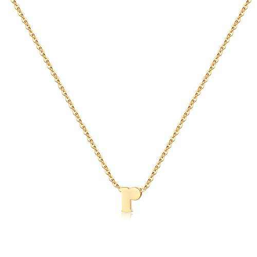 MONOOC Gold R Initial Necklace, Dainty 14K Gold Plated Small Lowercase Letter Initial Necklaces for Kids Tiny Minimalist Delicate Alphabet Necklace Monogram Letter Necklaces for Kids Jewelry Gifts