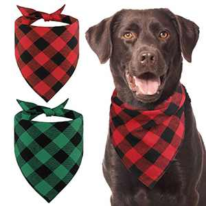 Kytely 2 Pack Fall Plaid Dog Bandanas Holiday Pet Dog Bandanas Christmas Bandana Buffalo Plaid Pet Scarf/Scarves Birthday Gift Accessories Pet Kerchief Washable for Small Medium Large Dogs Cats Pet