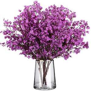 Silk Babys Breath Flowers 4 Bundles European Gypsophila Artificial Flowers Bouquets Real Touch Fake Plants for Wedding Party DIY Home Floral Arrangement Garden Decoration (Purple)