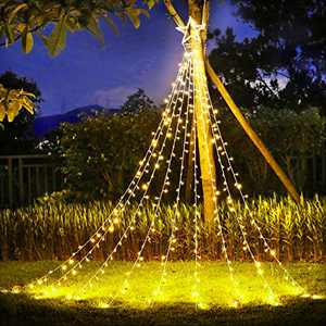 KNONEW Outdoor Christmas Decorations Star Lights 344 LED 8 Lighting Modes Fairy String Light Outside Tree Wall Decorations for Yard, Garden, New Year, Holiday, Birthday, Wedding, Party