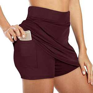 NIMIN Women's High Waist Athletic Skorts Lightweight Active Skirts Shorts Running Tennis Golf Workout Sports Burgundy Small