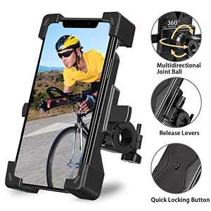 Anti-Shake Bike Phone Mount, Spritech 360° Rotation Universal Bicycle Motorcycle Phone Mount Holder Stand Stable Cradle Clamp for iPhone Android GPS Other Devices Between 4.0 to 6.5 inches