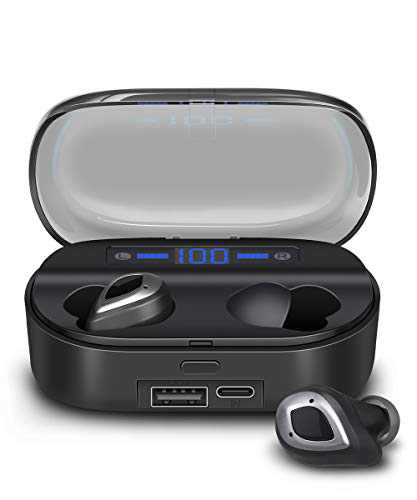 ASTUAFIA True Wireless Earbuds, TWS Bluetooth 5.0 Wireless Earbuds Built-in Mic, 8H Single Playtime with Charging Case Total 145H, Touch Control, Waterproof IPX7 3D Stereo Headphones with Deep Bass