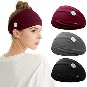 Fashion Headband With Button - Elastic Head Wrap Hair Band With Button Twist Turban headbands Ear Protection Non Slip Hair Accessories for Women and Girls