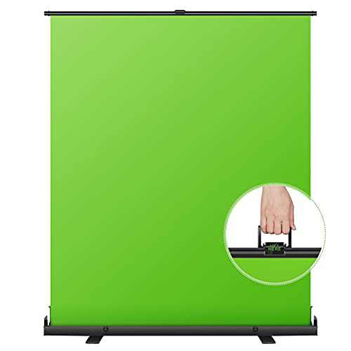 Neewer 148x180cm Green Screen Green Backdrop, Portable Collapsible Chromakey Background, Pull-up Style with Auto-Locking Frame, Solid Aluminium Base for Photo Video, Live Game, Tiktok Video