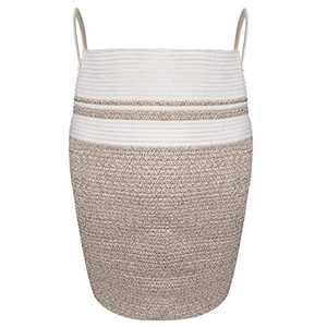 """Modern Bucket Laundry Hamper, Woven Jute Rope Dirty Clothes Hamper, Hamper Basket Large in Laundry Room, 25.6"""" Height"""