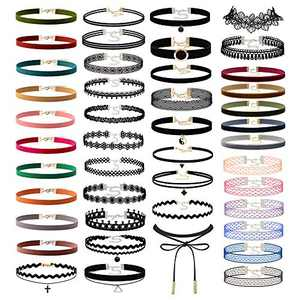 60PCS Black Womens Chokers Gothic Collar Lace Velvet Chocker Pendant Necklaces Set for Teen Women Girls