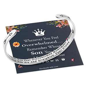 M MOOHAM Whenever You Feel Overwhelmed Remember Whose Son Straighten Your Crown Bracelet, Son Bracelet Inspirational Gifts for Son