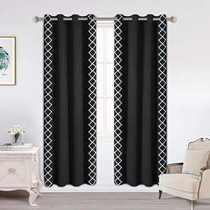 LORDTEX Embroidered Blackout Curtains for Bedroom - Thermal Insulated Curtains, Noise and Sun Light Blocking Grommet Window Drapes for Living Room, Set of 2 Panels, Black, 52 x 63 inch