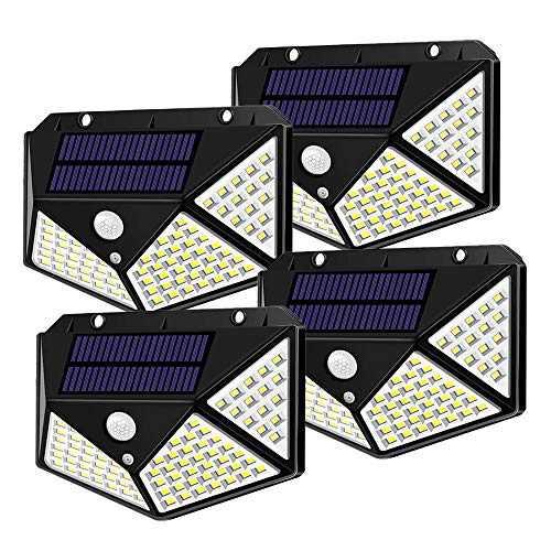 Spriak Solar Lights Outdoor, Motion Sensor Lights, 100 LED 270° Wide Angle Lighting, IP65 Waterproof Security Lights for Porch, Garage, Yard, Fence, Step, Pack of 4
