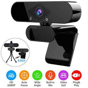 Webcam with Microphone,1080P Full HD Web Cam with Free Tripod,USB Camera Computer HD Streaming Webcam w/Mic, Wide Angle Lens &Large Sensor for PC Desktop &Laptop Video Calling,Recording Conferencing