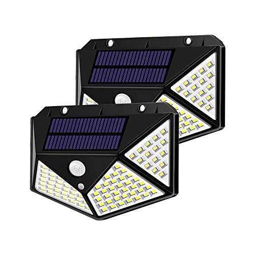Spriak Solar Lights Outdoor, Motion Sensor Lights, 100 LED 270° Wide Angle Lighting, IP65 Waterproof Security Lights for Porch, Garage, Yard, Fence, Step, Pack of 2