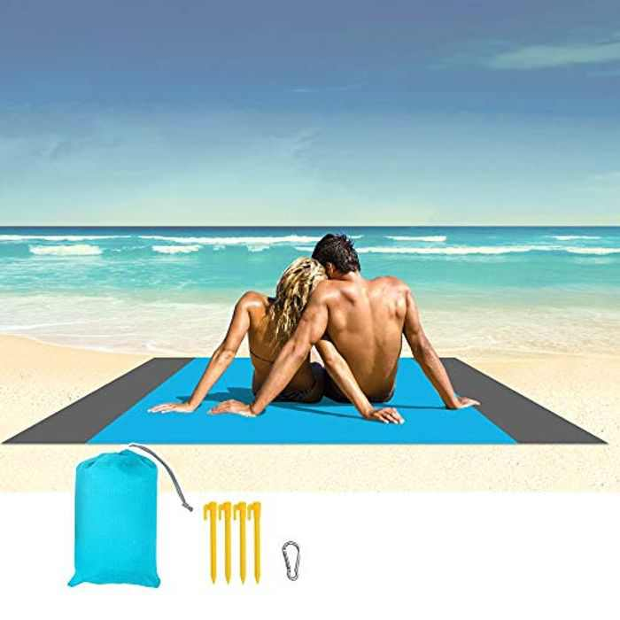HOPAI Beach Blanket Picnic Mat Extra Large 200 x 210cm Waterproof Water Resistant Sand Proof, Lightweight Soft Portable Carrying Handle with Anchor for Outdoor, Travel, Camping, Hiking, Park, Garden
