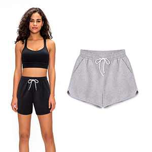 cutegogo Casual Shorts Women, Plus Size Elastic Waist Drawstring Active Shorts for Women Gray