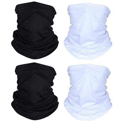 SUNFEID Bandanas Neck Gaiter Scarf Face Protection Neck Gaiters for Men Summer (Black/White, 4pcs)