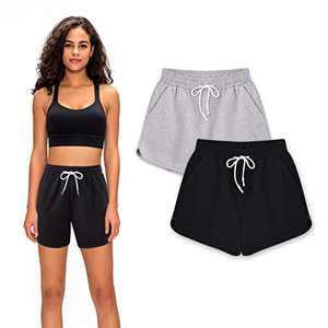cutegogo Athletic Shorts for Women,Black Workout Gym Yoga Shorts with Cotton/Elastic Waist
