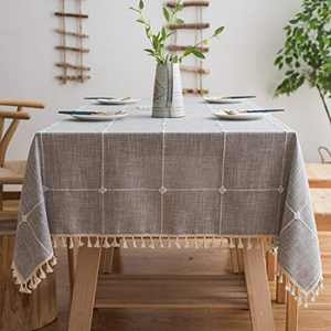 BUBIQUER Stitching Tassel Tablecloth, 55 inch Round, Cotton Linen Fabric Wrinkle Free Anti-Fading Dust-Proof Washable Tabletop Decoration for Kitchen Party(Grey Grid)