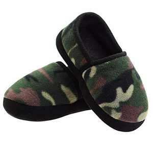 Slippers for Boys Kids Camouflage Anti-Slip Bedroom Slippers Warm Indoor/Outdoor Household 7-8 US Green