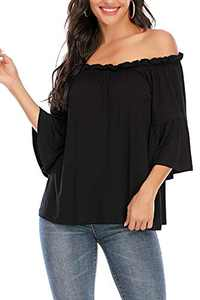 VZULY Women's Off Shoulder Tops 3 4 Flared Bell Sleeve Summer Casual Loose Blouse T-Shirts(Black L)