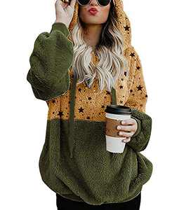 Yacooh Womens Color Block Fuzzy Fleece Hoodies Pullover Oversized Star Print Long Sleeve Hooded Sweatshirt Outwear with Pockets Green