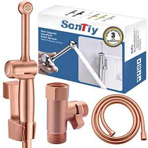 Hand Held Bidet Sprayer for Toilet, SonTiy Cloth Diaper Sprayers Bathroom Bidet Shower Spray Attachment Handheld Shattaf with Precision Pressure Control Jet Spray Vibrant Rose Gold -Solid Brass