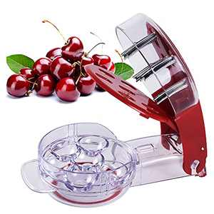 Cherry Pitter , Stainless Steel Multiple Cherry Seed Extractor Remover , Machine with Pits and Juice Container 6 Cherries(Red)