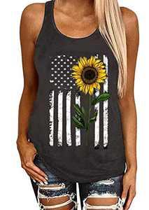 Vdnerjg Women's Sunflower Print Tank Tops American Flag Graphic Sleeveless Summer Racerback Tee Shirts Grey