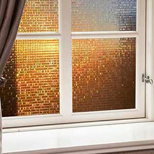 Viseeko Window Film Rainbow Static Window Clings Non-Adhesive 3D Window Decals Window Stickers for Glass Door Home Office Kids Room Heat Control (Dark Brown Mosaic Patterns, 17.5 x 78.7 inches)