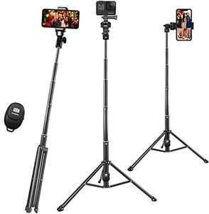 Selife Stick, 57 Inch Phone Tripod for iPhone Camera, Extendable Cell Phone Tripod with Bluetooth Remote & GoPro Mount & Holder & Carry Bag, Heavy Duty Aluminum Lightweight Adjustable