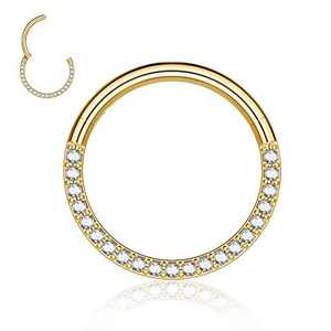 M MOOHAM Nose Ring Hoop, 16g Gold Nose Ring Cubic Zirconia Surgical Steel 16 Gauge 6mm Septum Rings Clicker CZ Cartilage Earring Hoop Helix Earrrings Conch Piercing Jewelry for Women
