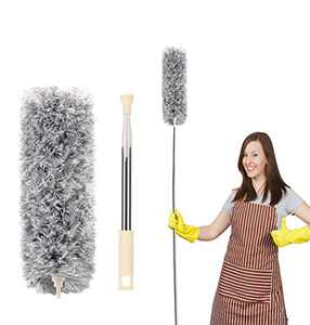 Microfiber Feather Duster, Duster Cleaning with 30-100 Inch Telescoping Extension Pole, Reusable Bendable Washable Lightweight Dusters for Cleaning Cobwebs Ceilings Fans, Furniture & Cars, Gray.