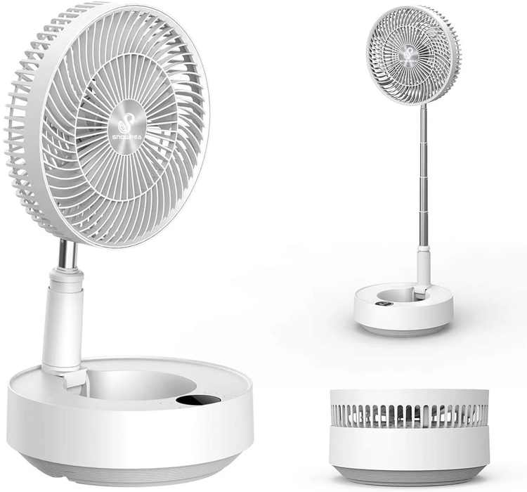 Snowpea Quiet Desk Fan Oscillating Room Fan 5 Speeds 25dB Silent Table Fan Air Circulator Fan with Remote Control 8000mAh Battery for Outdoor Bedroom Office Living Room (White)