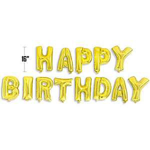Happy Birthday Balloon Banner Bunting 16 inch Letters Foil Balloons Party Decor (Gold)