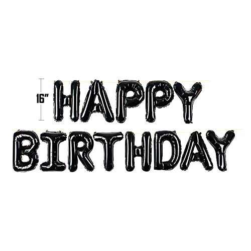 Happy Birthday Balloon Banner Bunting 16 inch Letters Foil Balloons Party Decor (Black)