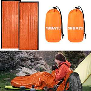 DIBBATU Emergency Survival Sleeping Bag, Thermal Bivy Sack Blanket, Waterproof Lightweight, Mylar Portable Nylon Sack for Camping Hiking Outdoor Adventure Activities (orange-002)