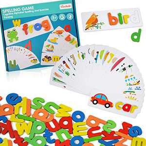ABC Alphabet Puzzles for Kids 3-5 Years Old-Words Spelling Sorting& Stacking Toys for Boys and Girls - Vocabulary Learning Sight Words (52 Letter Blocks + 28 Flashcards)