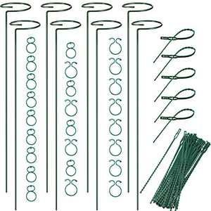 Boao 8 Pieces Plant Stake Support Garden Plant Stem Support Rings, 50 Pieces Plant Support Clips Plant Flower Locks and 50 Pieces Plant Twist Ties for Tomatoes Orchid Rose Flower Stem