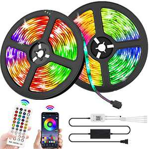 Sunrich LED Strip Lights Kit 32.8ft Color Changing Lights with Remote Bluetooth Controller Waterproof 5050 RGB Led Lighting Music Sync Smart Phone App Controlled for Home TV Party