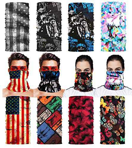 Neck-Gaiters, Dust Wind UV Sun,Bandanas for Men, 8PCS Bandana Masks for Outdoor Sports/Shopping/Travel