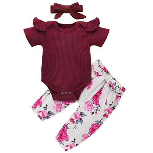 Newborn Baby Girl Clothes Ruffled Romper Floral Pants Headband 3PCS Set Toddler Bodysuit Outfit Summer