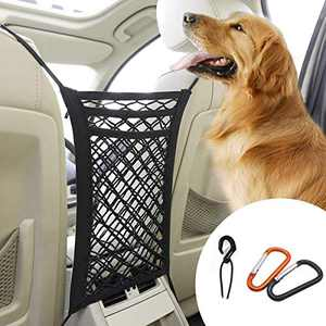 Car Net Barrier (4 Extra Upgrated Metal Hooks) for Family with Dog/Children,Stretchable Mesh Easy to Install, Back Seat Net Organizer Design for Pet Disturb Stopper