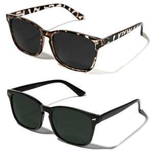 TIJN Polarized Sunglasses for Women Men Classic Trendy Stylish Sun Glasses 100% UV Protection (01-(2pack)black(green lens)+leopard)